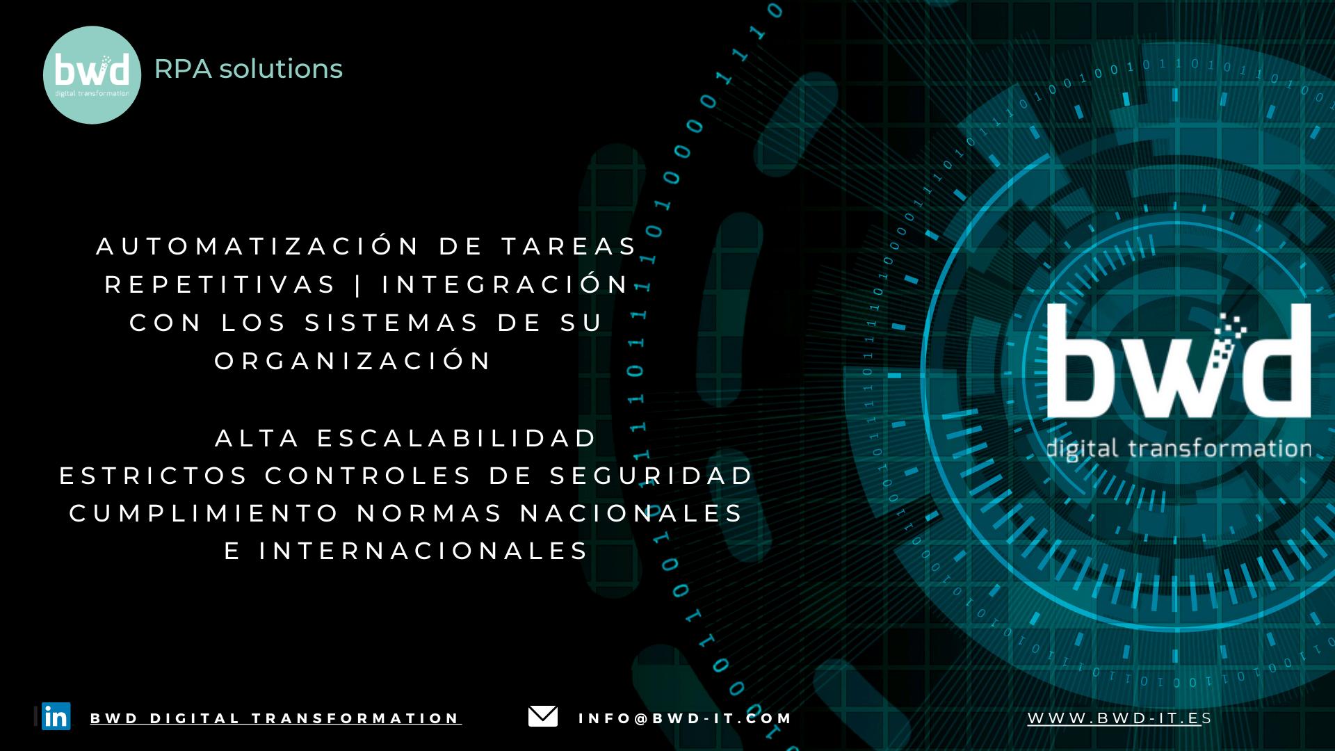 BWD RPA SOLUTION.  La transformación digital: robotización e inteligencia artificial